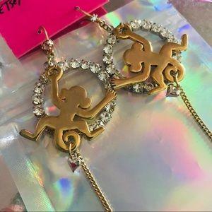 Crystal rhinestone monkey hoop earrings Betsey j